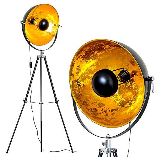 Stehlampe Saturn, Vintage Stehleuchte mit Lampenschirm in Gold/Schwarz aus Metall, Ø 40 cm, E27-Fassung, max. 40 Watt, verstellbare Bodenleuchte im Retro-Design, auch geeignet für LED Leuchtmittel -