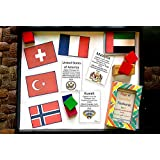 LOVE.LAUGH.LEARN Country's Flags, Currency / Capital / Languages Flashcards (Multicolor) Handcrafted with Love