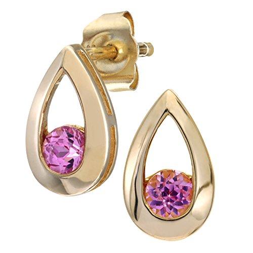 Citerna Damen-Ohrstecker 9 K Tränen 0,30 ct rosa Saphir Ohrringe 375 Gelbgold pink rundschliff
