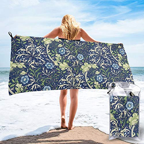 William Morris Blue Daisies Beach Quick Drying Towel Microfiber Yoga Fitness Absorbent Towel Outdoor Climbing Quick Drying Towel -
