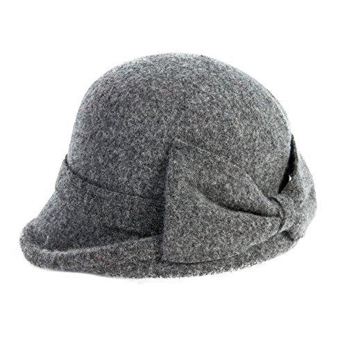 (SIGGI graue Wolle 1920s Retro Fedorahüte Kirche Hüte für Frauen Filzhut Klassisch Bowler Hut)