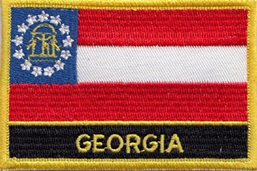Georgia STATE USA Flagge bestickt Patch Plakette eckig