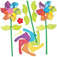 Baker Ross Kits de Molinillos de Viento de Flores (Paquete de 6) para Montar