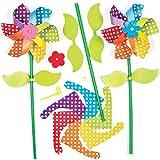 Kits de Moulins à Vent Fleurs Arc-en-Ciel que les Enfants pourront Assembler pour Jouer (Lot de 6)