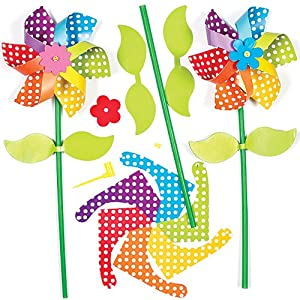 Rainbow Flower Windmill Kits For Children to Assemble, Personalise And Play with. Small Gift Idea For Boys & Girls (Pack of 6)