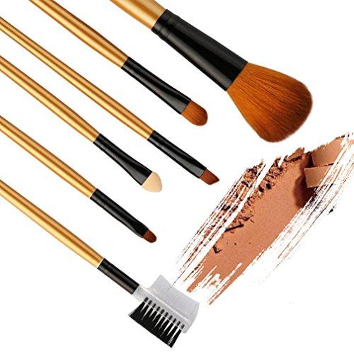 Grosses Soldes!!! ❤️ ♬♬ ❤️ LMMVP Set 6 Pinceaux de Maquillage Fond de Teint Poudre Eyeliner Contour Lustrage Correcteur (6 PCS, Noir)