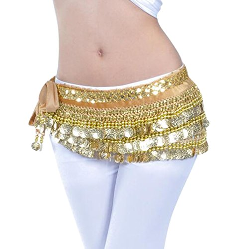 Element Kostüm Gold - YuanDian Damen Münzen Bauchtanz Gürtel Berufs Bauchtanz Tanzkleidung Taillenkette Hüfttuch Gürtel Röcke Bauch Tanzen Schal Gold Kamel+Goldmünzen