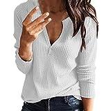 Damen Shirts SHOBDW Frauen Herbst Mode Simplicity Solid Tiefes V Ausschnitt Tops Bluse Dünn Langarm Pullover Wild Bequemes Base Shirt
