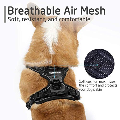 Rabbitgoo No Pull Dog Harness Medium, Front Clip Pet Vest Harness with Handle Adjustable Dog Padded Harness Reflective Mesh Lightweight Dog Harness for Outdoor Training Walking-Black