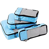 AmazonBasics 4-Piece Packing Cube Set - Small, Medium, Large, and Slim, Sky Blue