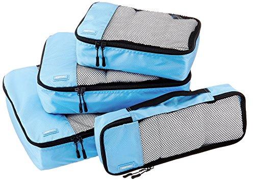 AmazonBasics Lot de 4 sacoches de rangement pour bagage Tailles S/M/L/Slim, Bleu Ciel