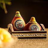 ExclusiveLane Terracotta Warli Handpainted Dining Table Stylish Salt Pepper Dispenser Cum Shaker with Tray