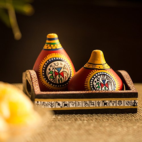 ExclusiveLane Terracotta Warli Handpainted Salt & Pepper Shaker With Tray