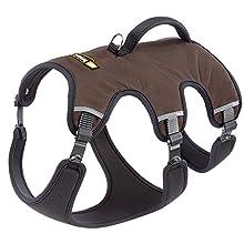 Ferplast Harnais ergonomique pour chiens de taille très grande ERGOTREKKING P LARGE, fermeture par micro-regulation, rembourrage souple, réflechissant, idéal pour les excursions, Marron