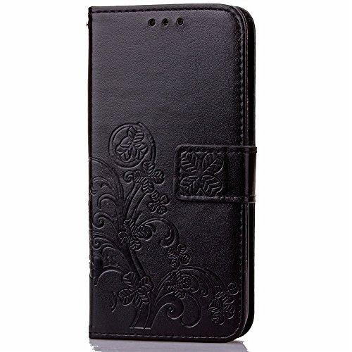 Für ZTE Z Max Pro Case Embossing Tree & Cat Pattern Soft PU Leder Schutzhülle mit Lanyard & Kickstand & Kartenhalter & Cash Slots ( Color : Purple ) Black