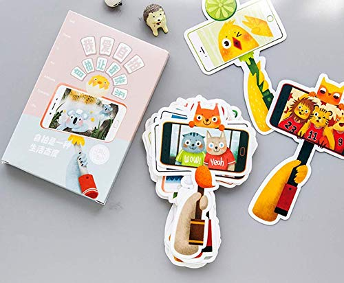 Juneping 30PCS / Set carino Auguri pieghevoli forma selfie Stick