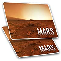 Awesome Rectangle Stickers(Set of 2) 7.5cm - Mars Planet Space NASA Fun Decals for Laptops,Tablets,Luggage,Scrap Booking,Fridges,Cool Gift #8223
