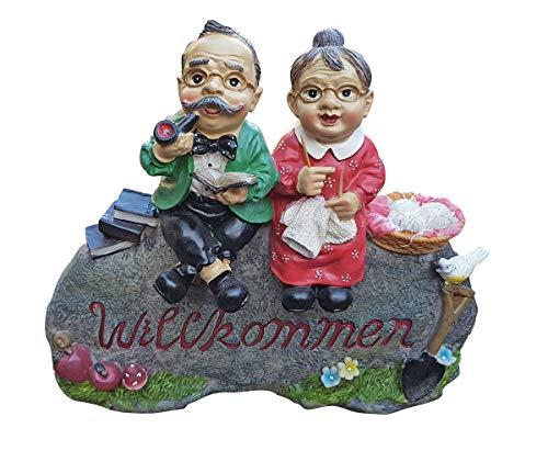 Fachhandel Plus Oma und Opa Willkommen Schild Gartendekoration Deko Figur für Innen und Außen