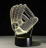 QiXian Nachtlicht Wandleuchte Led Lampe Bunte 3D Nightlight Baseball Handschuhe Geschenk Acryl Schreibtischlampe Produkte Powerbank 3D-Leuchten Kindertischlampen für Küche Schlafzimmer Wohnzimmer