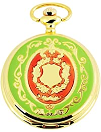 Tavo Lino Analog Reloj de bolsillo con cadena de metal y diseño de escudo 480702000056Oro Coloreado Carcasa en tamaño 47mm x 14mm con esfera de color blanco y cristal mineral.
