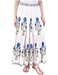 Blue Hibiscus Printed Cotton Skirt