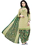 Ishin Synthetic Green Printed Unstitched Salwar Suit Dress Material (Anarkali/Patiyala) With Dupatta