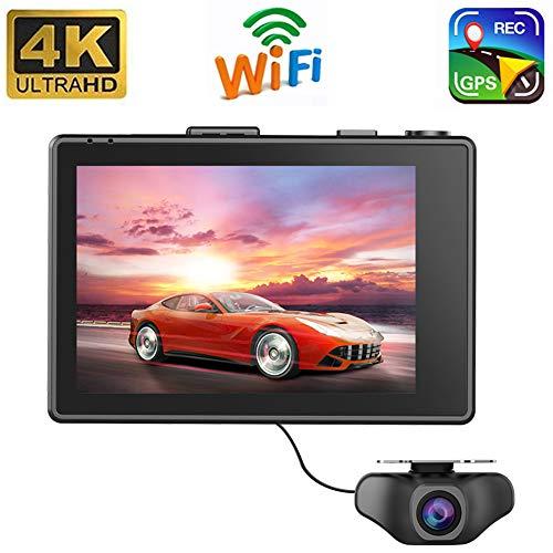 4K WiFi GPS Dashcam Auto Vorne Hinten Dual Kamera mit Bewegungsmelder Nachtsicht Akku Parküberwachung WDR Touchscreen Loop-Aufnahme G-Sensor,Autokamera Tiberwachung Dash Cam DVR (mit 32GB SD Karte)
