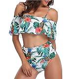 Ruffle Bikini Set per Donna Doppio up Stampato Tracolla Regolabile Top con Vita Alta Shirred Triangle Slip S-XXL,Green,L