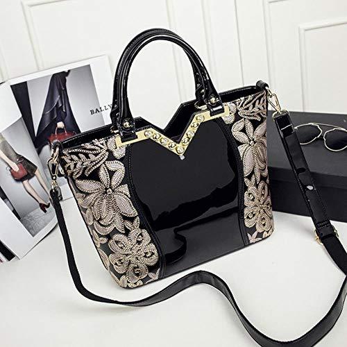 zbsw Neue Entwurfs-Frauen-Lackleder-Beiläufige Einkaufstasche-Natürliche Rindleder-Art- Und Weisehandtasche-Elegante Damen-Schulter-Entwerfer-Beutel,Schwarz -