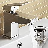 Designer Robinet mitigeur lavabo carré chromé robinet de lavabo de salle de bain avec vidage Pop-Up TB83S