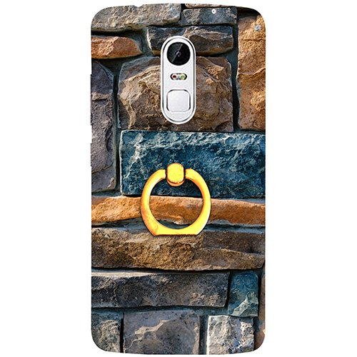 Casotec Decorative Stone Cladding Design 3D Printed Hard Back Case Cover with Metal Ring Kickstand for Lenovo Vibe X3