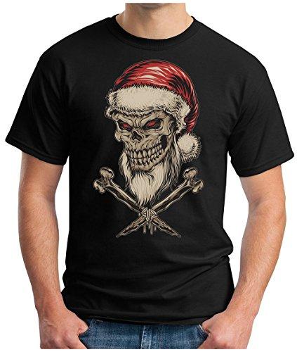 OM3 - DEAD-SANTA-SKULL - T-Shirt BONES SANTA CLAUS SATAN MC BLACK METAL 666 FUCKING XMAS GEEK, S - 5XL Schwarz
