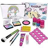 Kids Washable Makeup Set -Real Cosmetic kit with Unicorn Makeup Bag-Nail Polish- Eye Shadow-Lip Gloss-Stick- Ideal for Little Girls Princess Birthday Present Gift