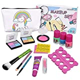 Kids Washable Makeup Set -Real Cosmetic kit with Unicorn Makeup Bag-Nail Polish- Eye Shadow-Lip Gloss-Stick- Ideal for Little Girls Princess Birthday Present Gift