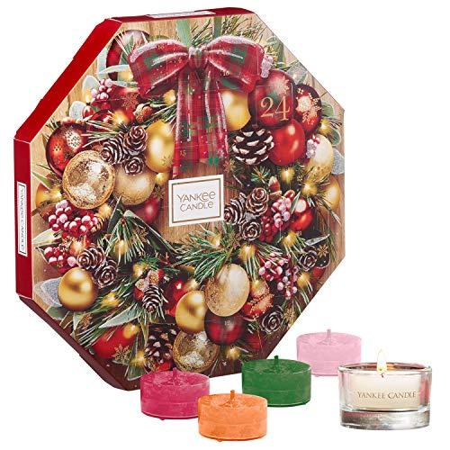 Yankee Candle Adventskalender-Geschenkset, mit 24duftenden Teelichten und 1Teelichthalter aus Glas in festlicher kranzförmiger Geschenkbox