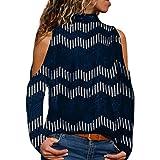 Darringls Femmes Casual Chic Lache Col en V Asymétrique T-Shirt Manches Longues avec Patchwork Bloc de Couleur Haut Tops Blouse Tunique Chemise avec Leopard Poche