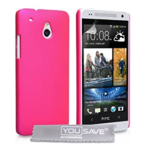 Yousave Accessories Hard Hybrid Cover for HTC One Mini - Hot Pink