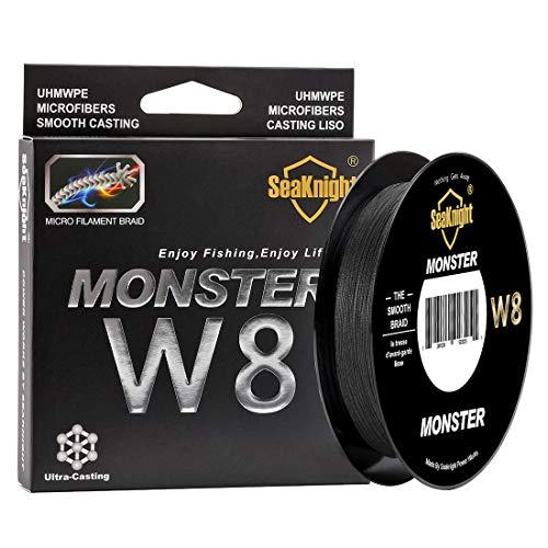 SeaKnight Monster W8 8 8 geflochtene Schnüre 150 m Super glatt PE geflochten Multifilament Karpfenangelschnüre für Meeresangeln 45,72-45,72 kg, Herren, Schwarz, 2.0#:30LB/Diam:0.23mm/164Yds/150M