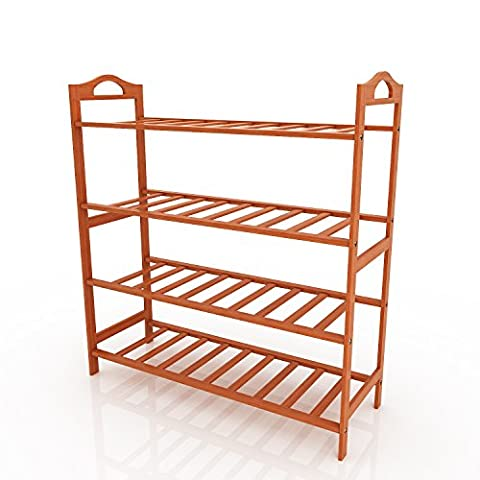 Cooshional|4 Tiers Shoe Rack with Natural Bamboo,Healthy Home Shoes Stand
