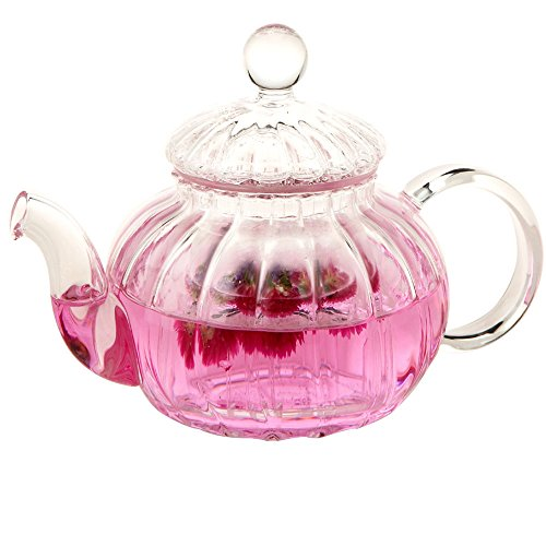 rente glas teekanne kürbis teekanne hochwarmfester blume tea coffee pot infuser 600ml (600ML) ()