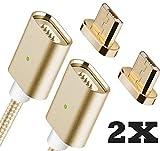 Qprods - Magnetische USB Ladekabel DatenKabel. Netzteil Adapter High Speed Sync mit LED Statuseinzeige. MicroUSB für alle Android Smart Handys Smartphones. Samsung, LG, Motorola, Nexus, Sony usw. 1 Jahr Garantie. Gold. Packung von 2