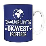 Best Professor Mugs - Royal Blue World's Okayest Professor Funny Gift Idea Review
