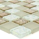 Mosaikstein Glas Fliesen Matten Nikolski Beige Gold