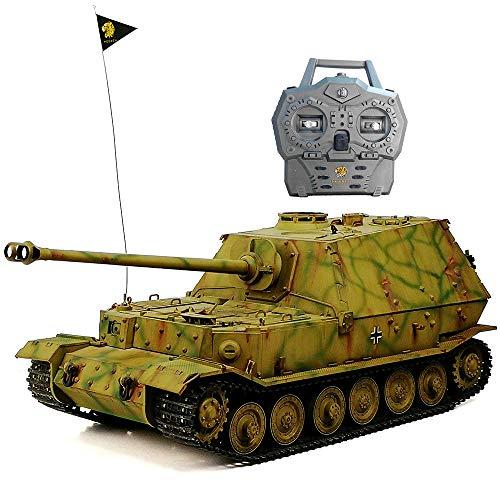 HOOBEN RTR RC Panzer Deutscher Komplettsatz 1/16 Elefant Jagdpanzer Ferdinand Volle Funktion AFV (montiert und tarnt lackiert) mit Metallgetriebe, Kettenrad, Umlenkrolle,Aufhängung D6614F