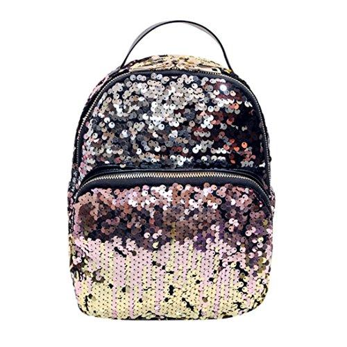 VICGREY  Women ' S Fashion College Vento Paillettes Borsa Da Viaggio Zaino Casual Elegante Mini Zaino (Rosa)