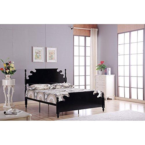 Stunning Designer Double 4'9 Solid Wooden Black Metal Bed Frame
