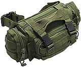 Nitehawk Sac avec système d'attache MOLLE et lanière style sac banane - style militaire/armée - Vert olive