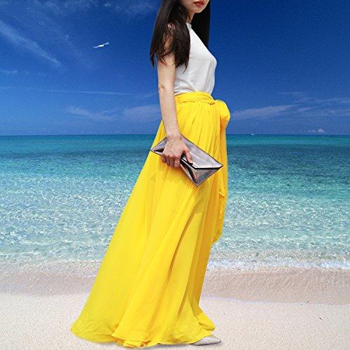 Aiyana Elegantes Damen Chiffon Boho Plissee Retro Maxi langer Rock-elastischen Bund Tanz-Kleid fur Abendkleid, Hochzeit, Prom, Strand Rock Himmelblau