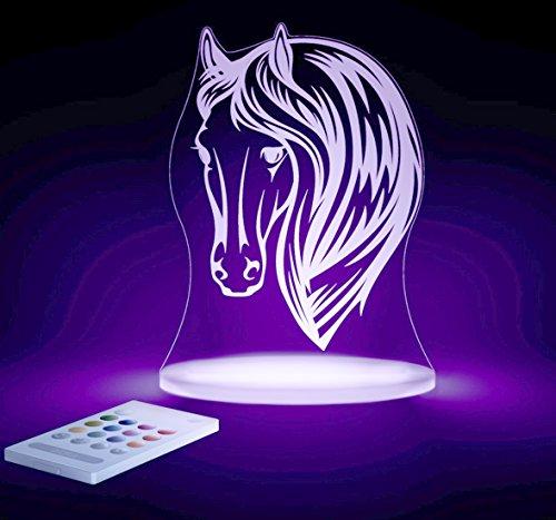 Pferd Leuchten (Aloka Pferd Motiv Nachtlicht - Kinderzimmer Baby LED Lampe Farbwechsel Fernbedienung Schlafmodus, Mehrfarbig)