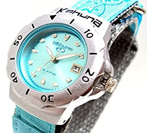 Kahuna Girls / Women's Aqua Blue Metallic Dial Flower Pattern Strap Sports Watch with 50 Meters Water Resistant & Date Function